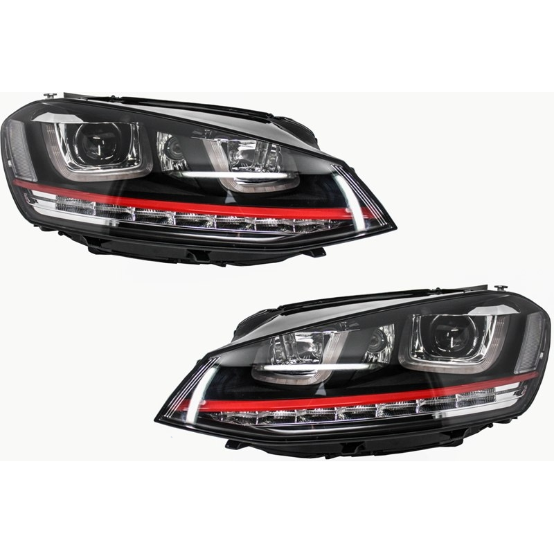 phares led look gti pour volkswagen golf 7 avec feux diurnes led d. Black Bedroom Furniture Sets. Home Design Ideas
