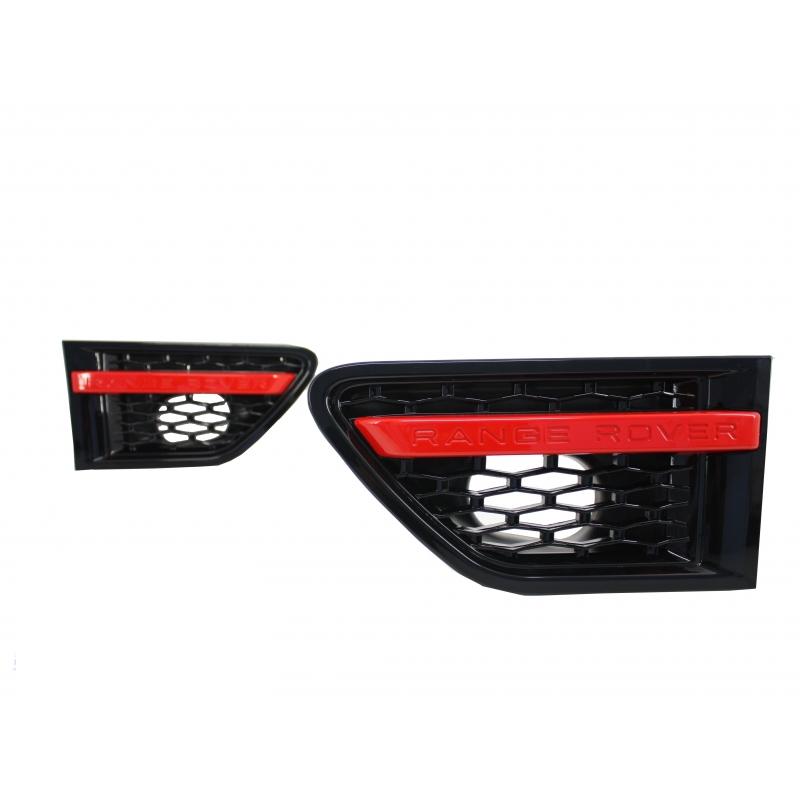 grilles lat rales noir rouge pour range rover sport 10 13 inscrip. Black Bedroom Furniture Sets. Home Design Ideas