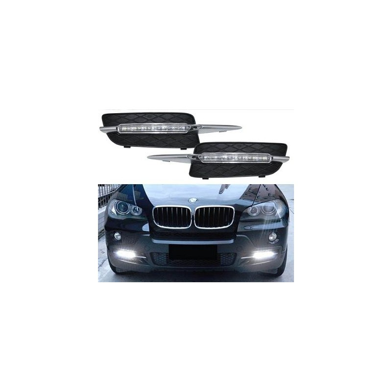 feux de jour led pour bmw x5 e70 paire de feux grilles led daytime. Black Bedroom Furniture Sets. Home Design Ideas