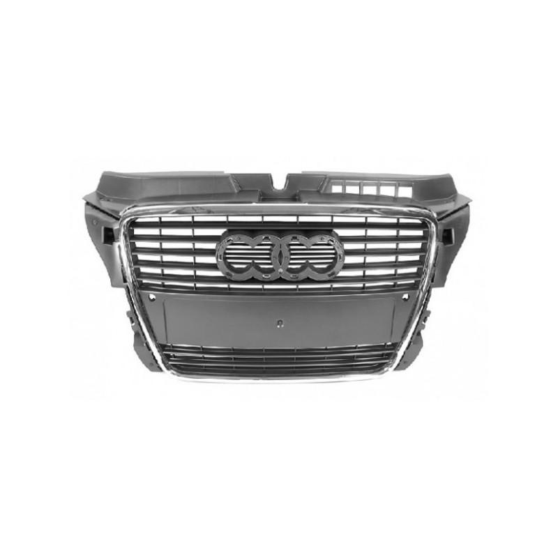 grille de calandre pour audi a3 2008 2012 noir chrome. Black Bedroom Furniture Sets. Home Design Ideas