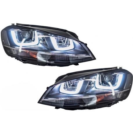 phares led look r pour volkswagen golf 7 look r black. Black Bedroom Furniture Sets. Home Design Ideas