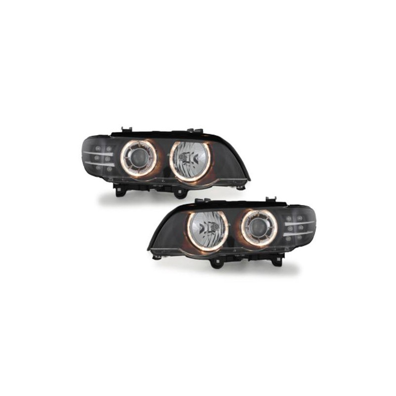 phares xenon angel eyes led pour bmw x5 e53 99 03 avec un fond de c. Black Bedroom Furniture Sets. Home Design Ideas