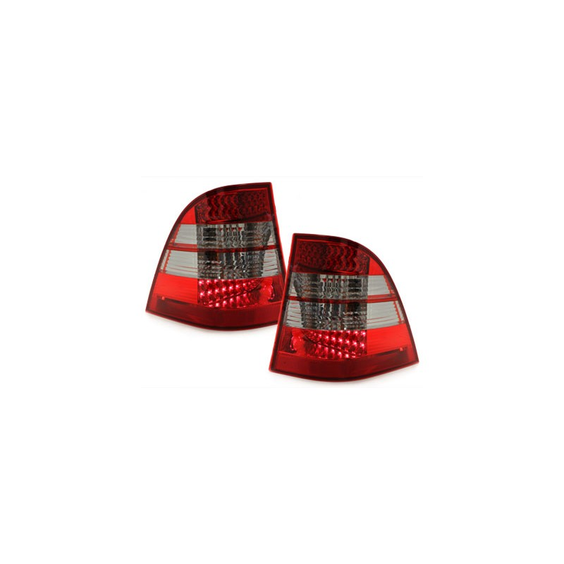 feux led rouge teinte pour mercedes ml w163 paire de feux arri re. Black Bedroom Furniture Sets. Home Design Ideas